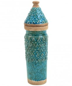 Talia blue ceramic bottle with lid point, PTMD-0