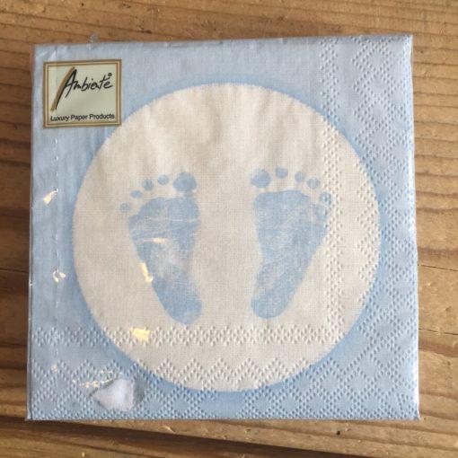 Papieren Servetten voetjes - Roze of Blauw-4012