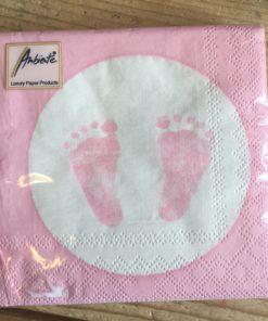 Papieren Servetten voetjes - Roze of Blauw-0