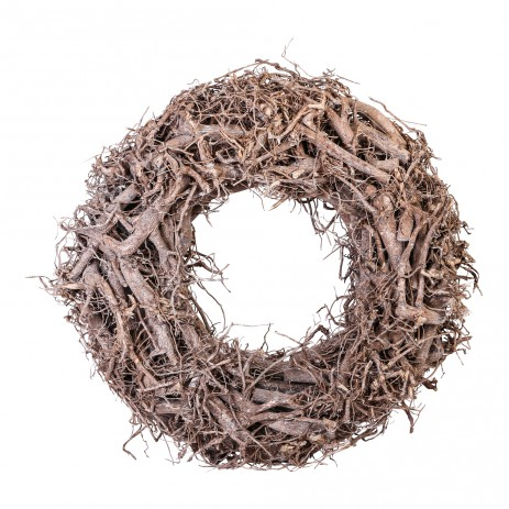 Christmas willow white wood round wreath S - PTMD-0