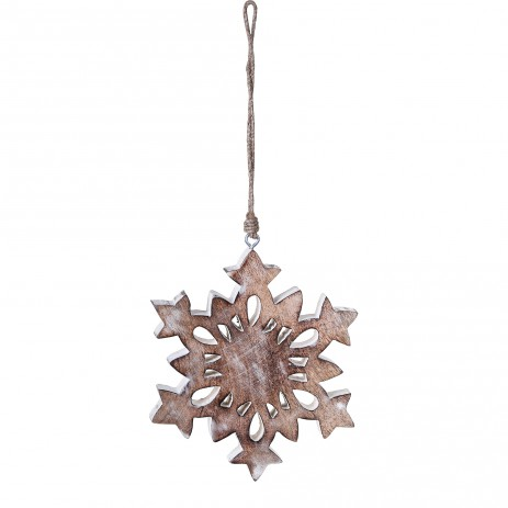 Christmas Craft wood hanger snowflake a white - PTMD-4353