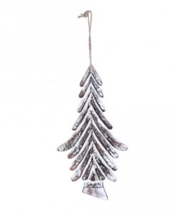 Christmas Dingle white wooden hanging tree strokes, PTMD-4350
