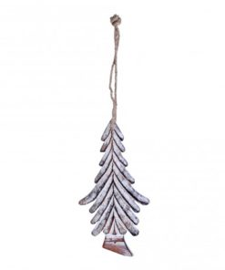 Christmas Dingle white wooden hanging tree strokes, PTMD-0