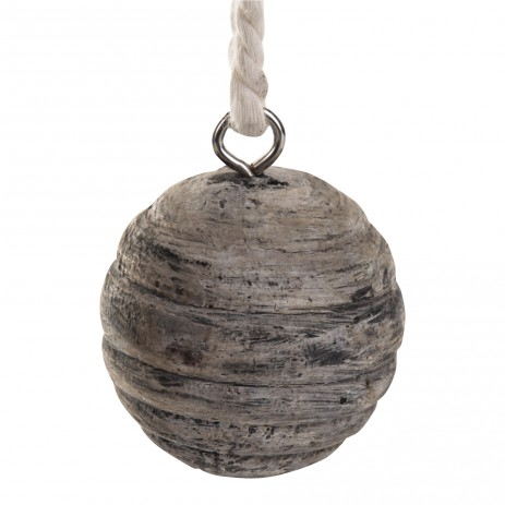 Teak white hanging ball L en S, PTMD-0