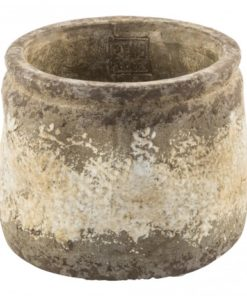 Cement osaka brown round pot , PTMD-4599