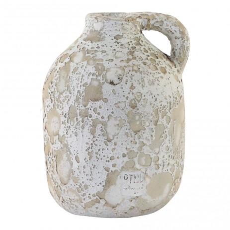 Sarong white ceramic jar low S, PTMD-0