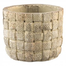 Cement Twine white round pot grey in maat L en S, PTMD-0