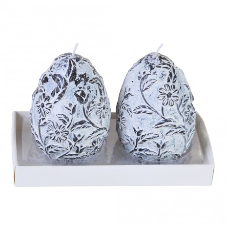 Joy candle blue egg motif set of 2, PTMD-0