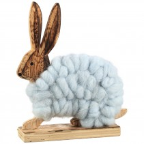 Lapin blue wooden wool sitting rabbit, PTMD-0