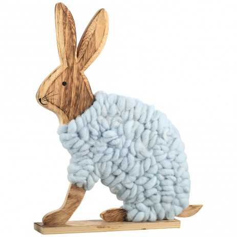 Lapin blue wooden wool standing rabbit, PTMD-0