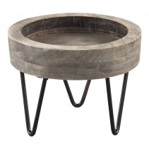 Simple wood round grey tray steel legs S, PTMD-0
