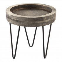 Simple wood round grey tray steel legs L PTMD-0