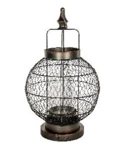 Fabric metal lantern round open with handle s - PTMD-0