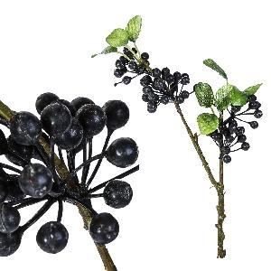 Berry plant zwarte tak met bladeren, PTMD-0