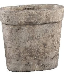 Stony brown Cement pot ovale in maat S en M, PTMD-5318