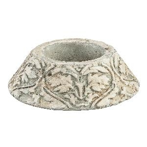 Sevilla green Cement tealight holder round patter, PTMD-0