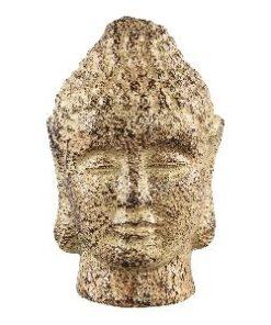 Cambodja yellow ceramic buddha head in maat m en s, PTMD-0