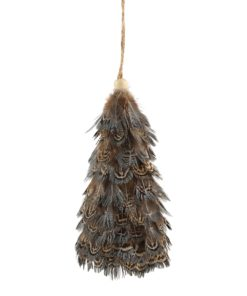 Christmas feather pheasant grey tree L, PTMD-0
