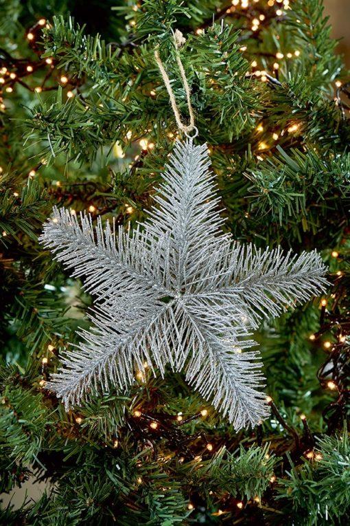 Aspen Snowstar Ornament silver M & L - Riviera Maison-0