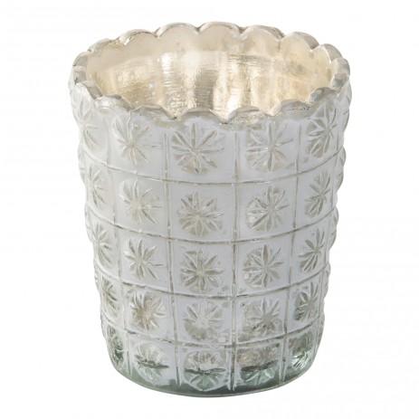 Ice white Glazen theelicht M, PTMD-0