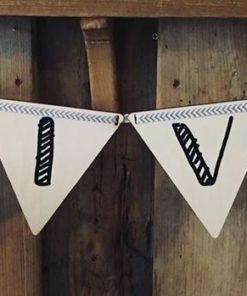 Vlaggetje Hout - diverse letters/cijfers/tekens-0