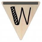 Vlaggetje Hout - diverse letters/cijfers/tekens-6106