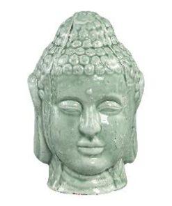 Budhi green ceramic buddha head statue s - PTMD-0