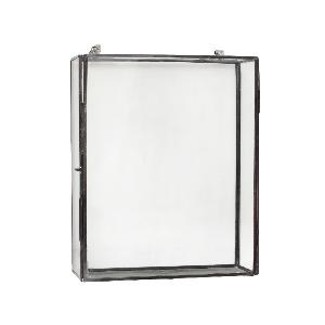 Kubu black Iron wall rack Glass border rectangle m - PTMD-0