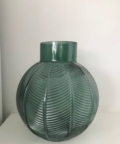 Cary dark green Glass vase leaves straight belly M - PTMD-0