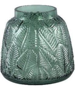 Cary dark green Glass vase leaves round s - PTMD-0