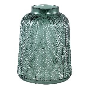 Cary dark green Glass vase leaves round L - PTMD-0