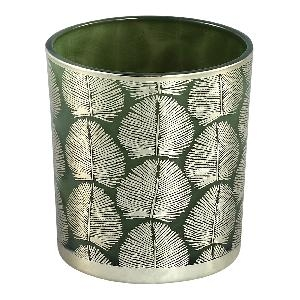 Marsh green Glass tealight round gold leaves s - PTMD-0