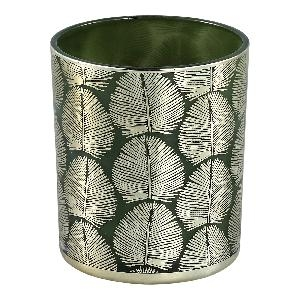 Marsh green Glass tealight round gold leaves L - PTMD-0