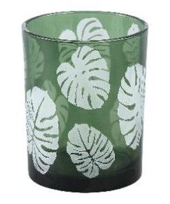 Yerba green Glass vase open leaf round m - PTMD-0