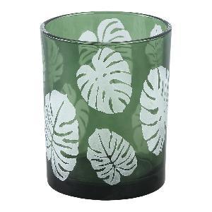 Yerba green Glass vase open leaf round m - PTMD-0