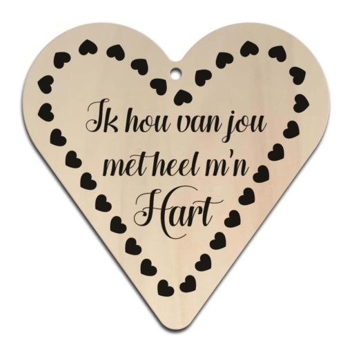 Houten Gift Heart/Ansichtkaart - Diverse Teksten - Factory4Home-6699