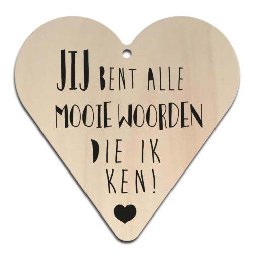 Houten Gift Heart/Ansichtkaart - Diverse Teksten - Factory4Home-6705
