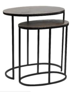 alu brass side table open design ovale, set van 2 - PTMD-0