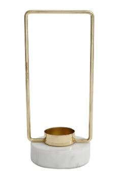 Novy gold Iron tealight square Marble base s - PTMD-0