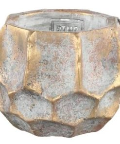 Todd gold diamond Cement pot round - verschillende maten - PTMD-6998
